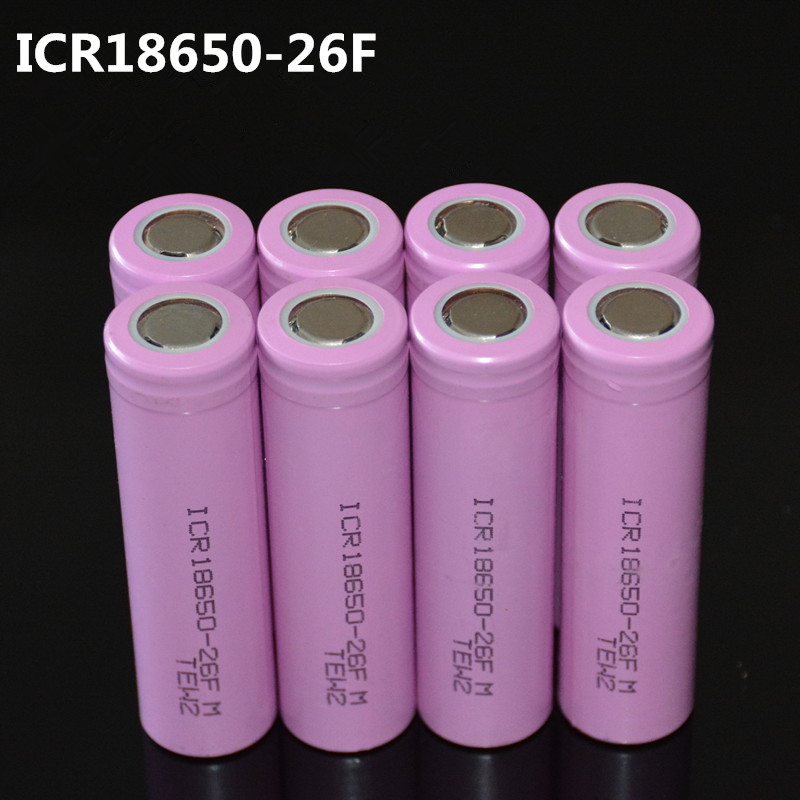 8pcs/lot Original 18650 3.7V 2600mAh LI-Ion batteries rechargeable Battery ICR18650-26FM safe batteries Industrial use