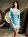 Новое Прибытие 2017 Twinset Женщины Одеяние Устанавливает Лето Кружева Вышивка Халаты Половина Рукава Одеяния Пижамы V-образным Вырезом Бесплатная Доставка 6621