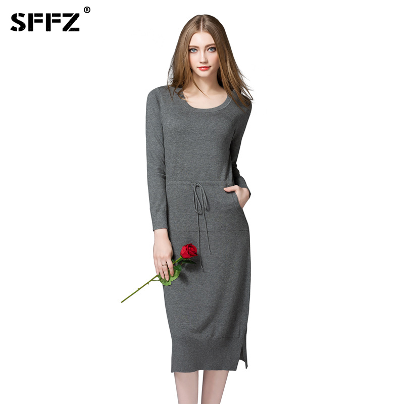SFFZ Women Sweater Dress Casual Long Sleeve Cotton Blend Womens Dresses Pullovers Fashion Grey Black Knitted Long Clothing