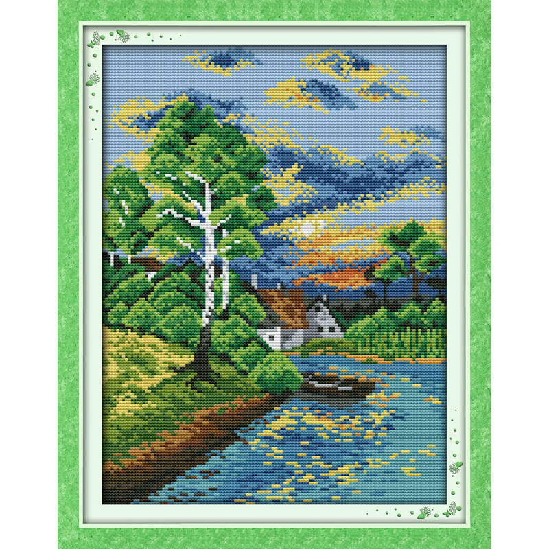 Everlasting love Sunset on the river Chinese cross stitch kits Ecological cotton stamped printed DIY Christmas decorations gift