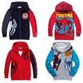 Moda dos desenhos animados spiderman meninos com capuz camisolas, Nova outono crianças crianças jaqueta, Bebê zipper outerwear