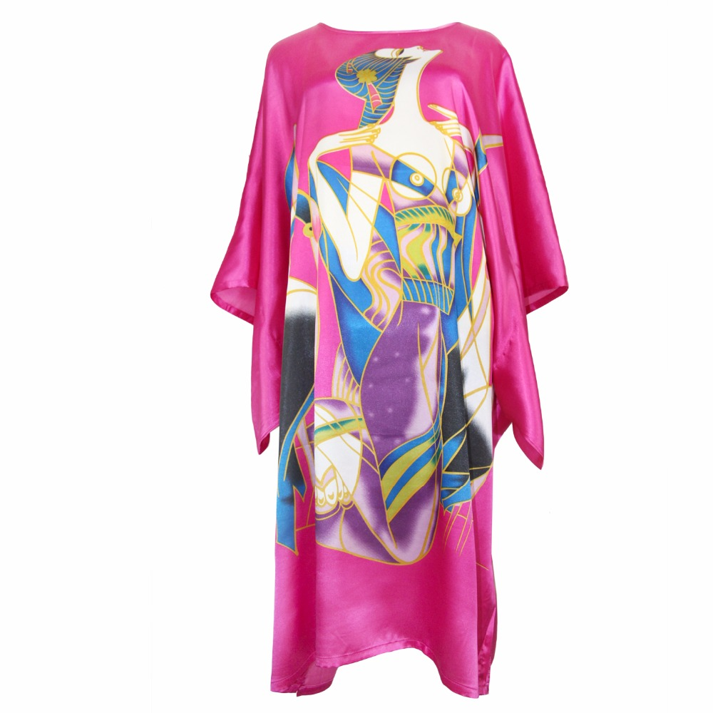 Hot Pink Sexy Female Robe Dress Loose Casual Nightgown Rayon Nightdress Bathrobe Chinese Women Flower Kaftan Gown Plus Size