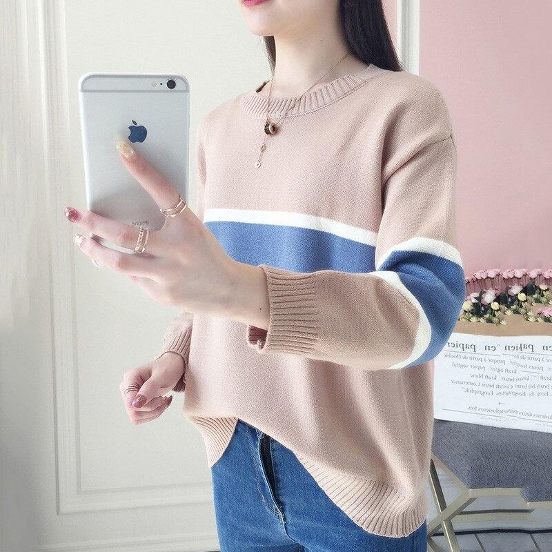 Autumn Winter Round neck Sweater Women Pullover 2018 New Warm Sweater Pullover Fashion Slim Color match Winter Women Sweater 636