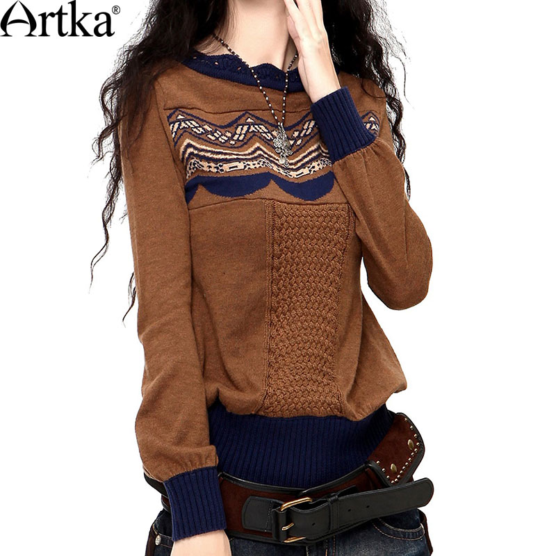 Artka 2015 женский ретро новый зимний весна пуловер с длинными рукавамибурый высококачественный элегантный удобный шерстянойвязаный свитер ...