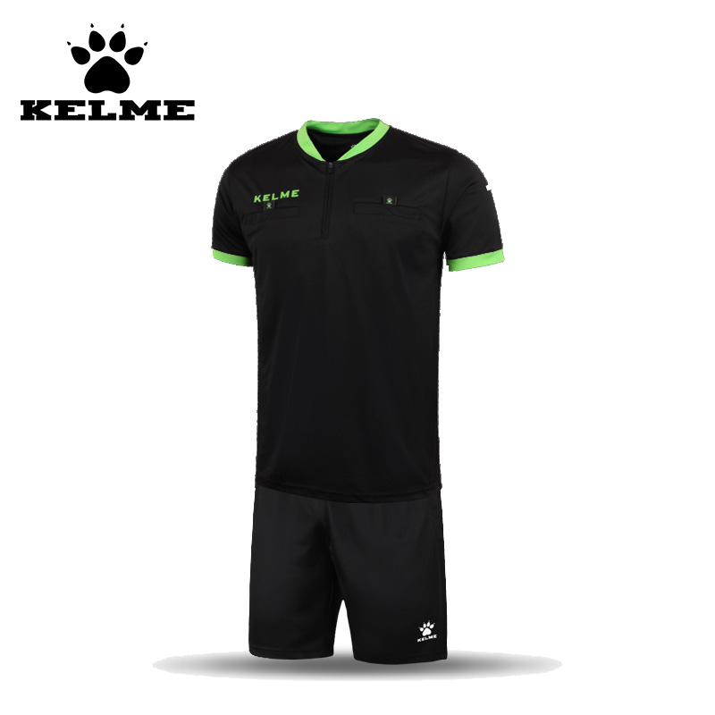 1145f6eac7 Kelme futebol árbitro jerseys poliéster camisa curta homens fato de treino  de futebol uniformes definir customizable63 treino xxxl
