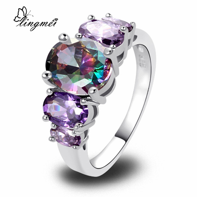 lingmei Wholesale Unisex AAA Multi-Color CZ Silver Color Ring Size 6 7 8 9 10 11
