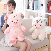 New 30cm plush toys Cartoon Pig with hat Kawaii soft cat bear dog Cute High Quality lovely Christmas gift for children girl hot(China)