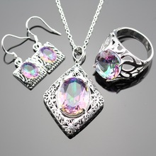 Lan 925 sterling silver Jewelry Sets AAA Zircon  Rainbow Topaz MultiColor  Ring Necklace Pendant Earring Bracelet For Wedding