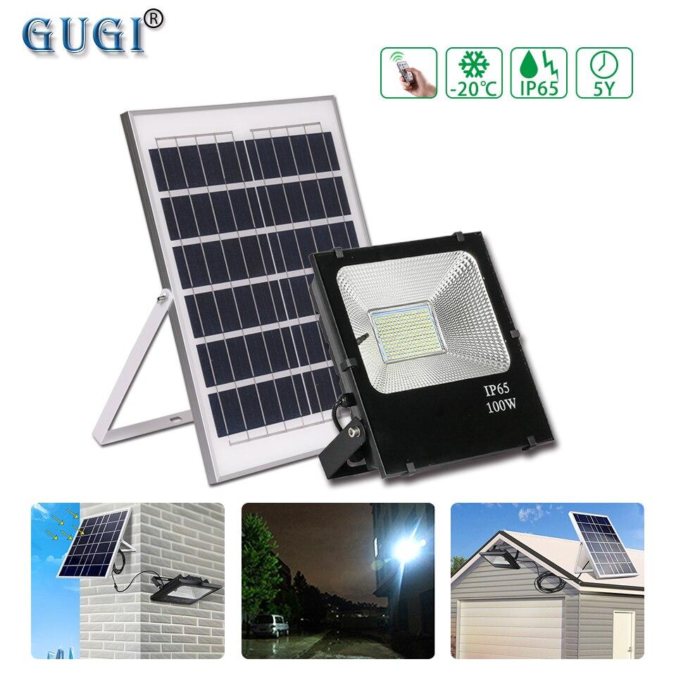 Éclairage Led solaire solaire 100 W de lumière de sécurité de lumière d'inondation de Led avec le panneau solaire imperméable IP65 a mené le projecteur de jardin de réflecteur