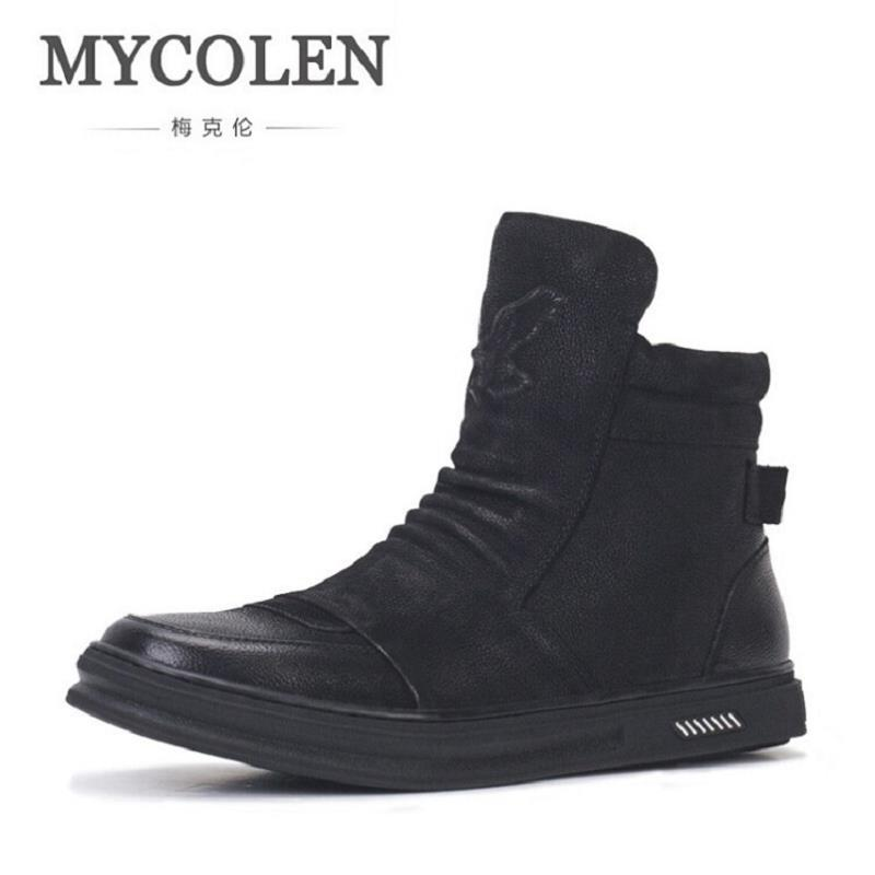 MYCOLEN Men's Chelsea Boots Genuine Leather Handmade Luxury Brand Party Wedding Dress Shoes Brand Vintage Winter Casual Boots luxury brand vintage casual 100 page 5