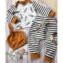 Зимняя одежда для новорожденных мальчиков и девочек; футболка с перьями; топы; штаны в полоску; комплект одежды; vetement enfant fille