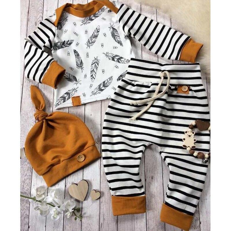 Hiver bébé 2019 nouveau-né bébé garçon fille plume t-shirt hauts rayé pantalon vêtements tenues ensemble vetement enfant fille livraison directe