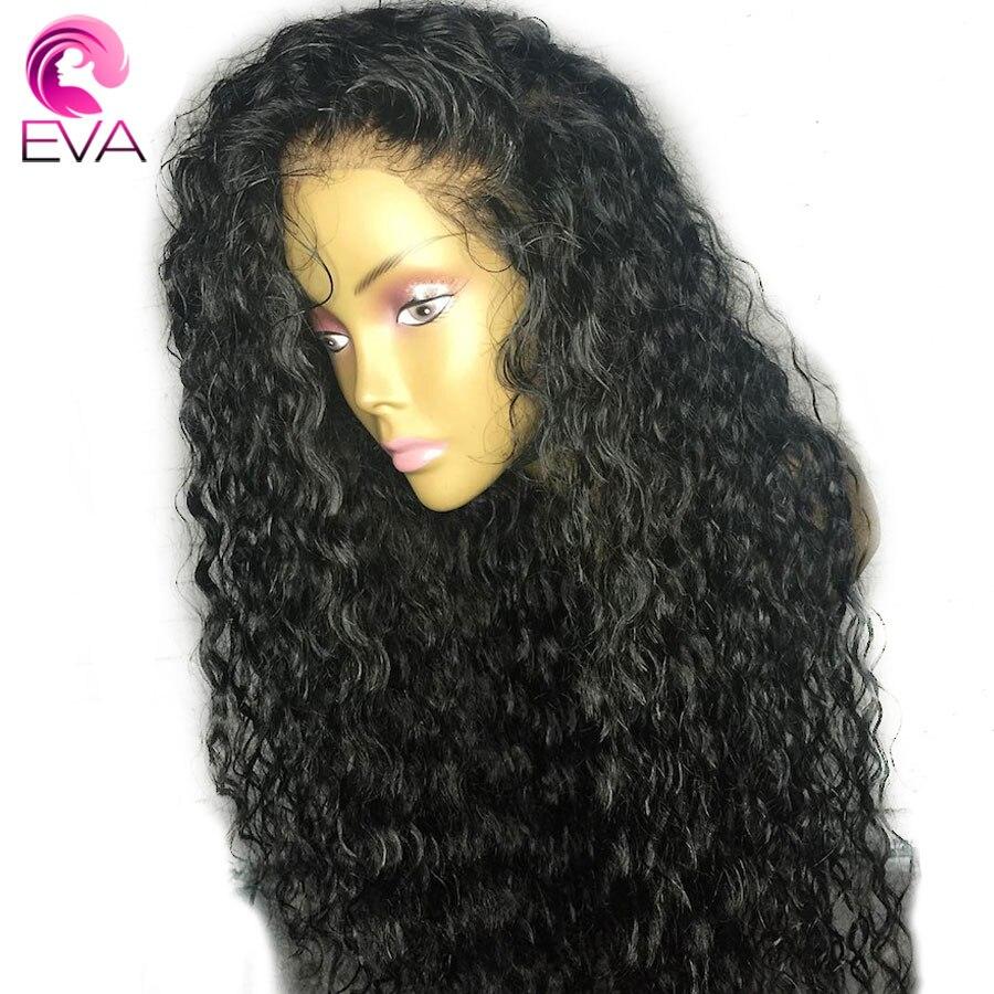 ЕВА вьющиеся волосы Full Lace человеческих волос парики предварительно сорвал с ребенком волосы бесклеевого парики отбеленные узлы бразильский волосы remy