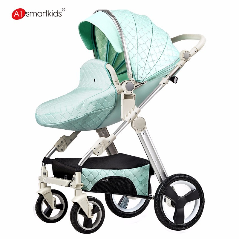 hot mom  pu leather baby stroller high landscape two way can lay down can seat  can change directionhot mom  pu leather baby stroller high landscape two way can lay down can seat  can change direction