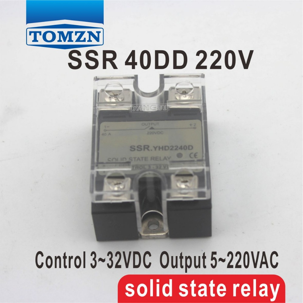 40DD SSR Control voltage 3~32VDC output 5~220VDC DC single phase DC solid state relay 20dd ssr control 3 32vdc output 5 220vdc single phase dc solid state relay 20a yhd2220d
