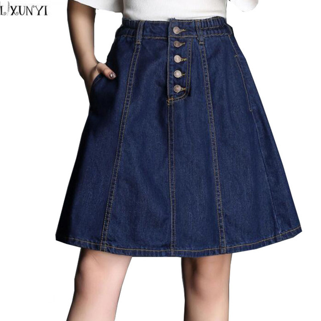 2017 Verão Cintura Elástica Saia Jeans Mulheres Único Breasted Fino Ocasional das senhoras Saias Plus Size Calça Jeans de Cintura Alta Saia