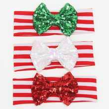 30 pcs /lot ' , big sequin messy headband bowknot , headband sequin bow for christmas holiday hair accessories
