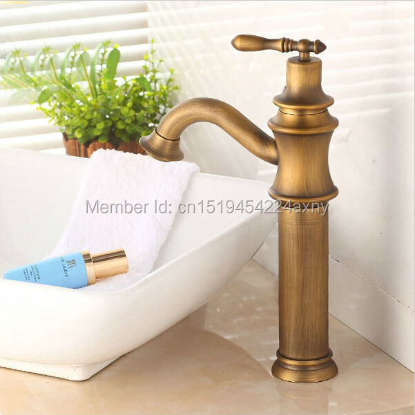 free shipping vintage style antique copper faucet tall bathroom faucets brass finish washbasin taps wholesale and