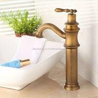 Miễn phí Vận Chuyển Vintage Phong Cách antique Đồng vòi tall phòng tắm vòi brass kết thúc vòi chậu rửa mặt Bán Buôn Và Bán Lẻ GI64