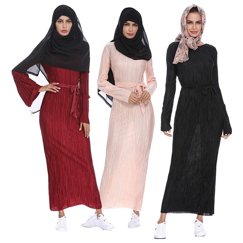 Vestidos Longo 2019 Kaftan Abaya Dubai Islam Bandage Bodycon Pleated Muslim Hijab Dress Women Elbise Turkish Islamic Clothing