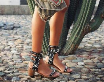 Best Quality Rome Style High Heel Women Gladiator Sandal Solid Colors Studded Rivets Rhinestone Sandale Femme Pumps Native Shoes
