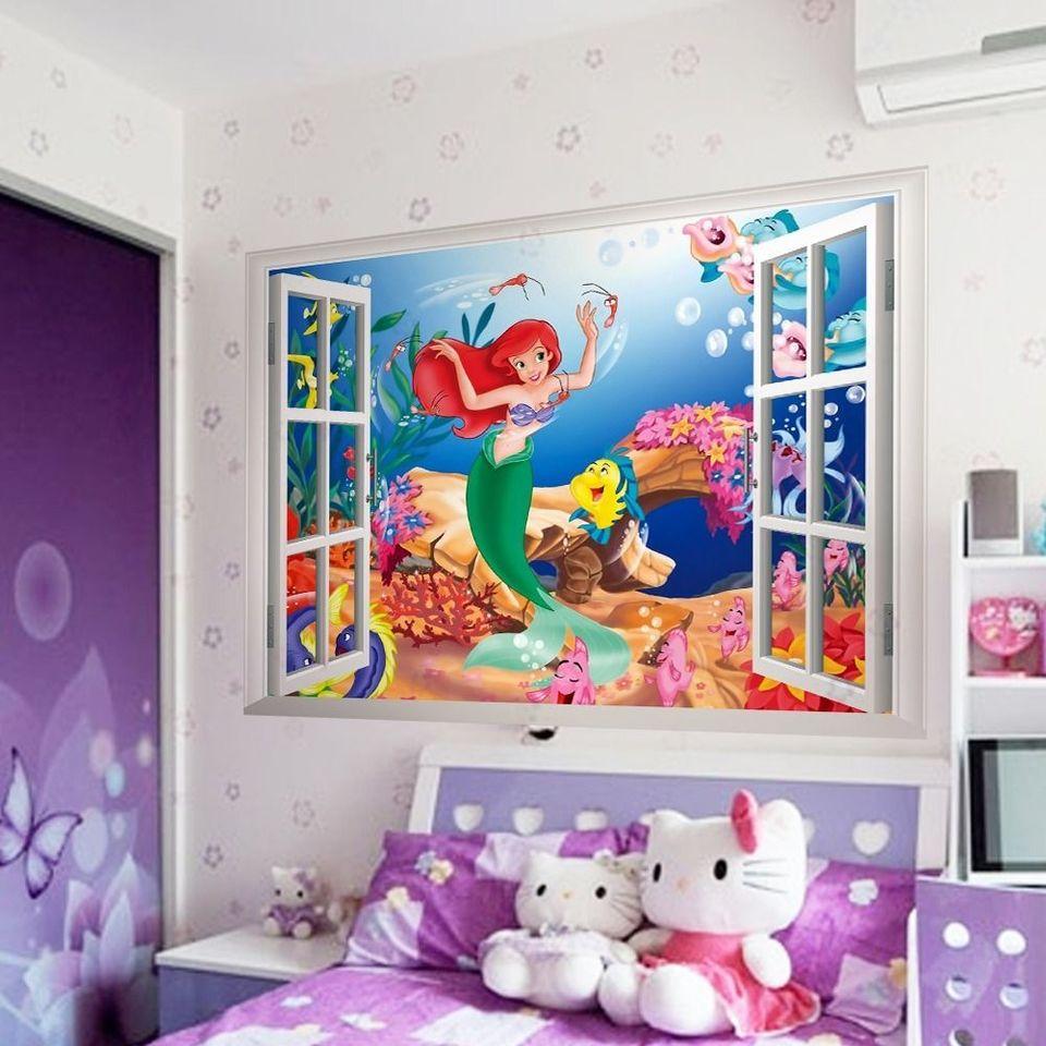 Interior Design Fai Da Te sirenetta 3d finestra adesivo da parete pvc murale fai da te