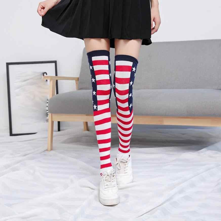 09adc0c0529 ... MUQGEW Beautiful Women Stripe Stars Stripe Tube Socks Over Knee Protect Thigh  High Socks Cute Punk ...