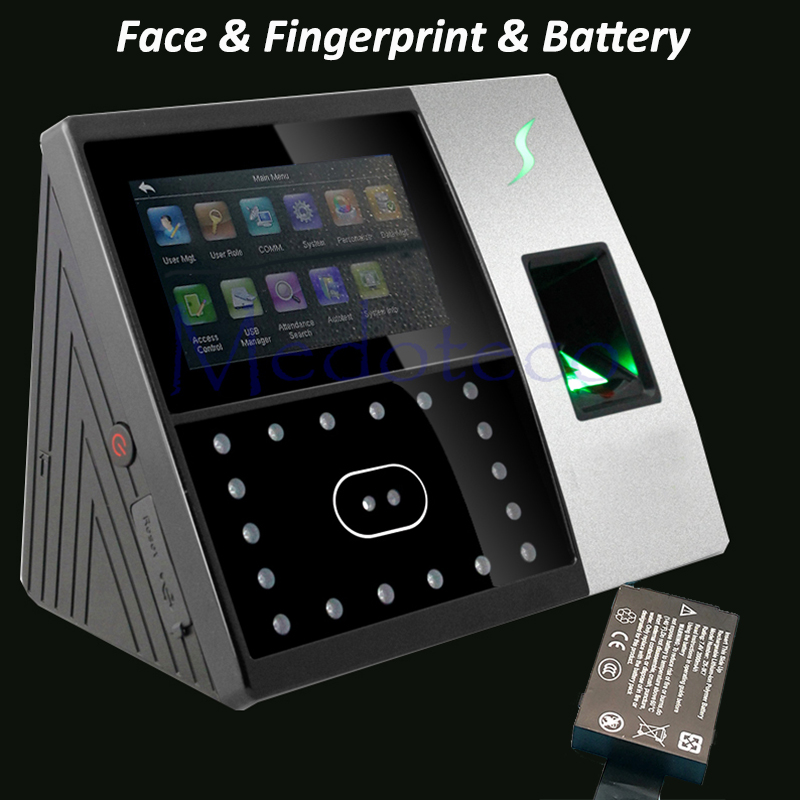 Iface702 Face Time Attendance Back Up Battery Door Access Control System Network Tcp/ip Office Time Clock Fingerprint Punching