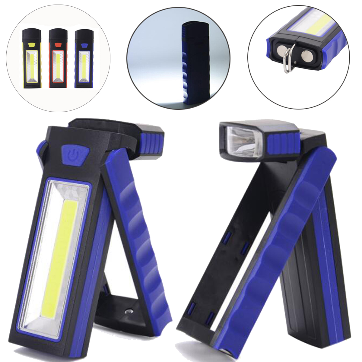 Adjustable COB LED Work Light Flashlight Torch Lantern With Magnetic Hook Outdoors Camping Sport Lamp