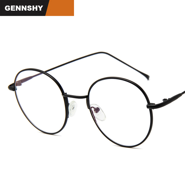 23318bb973 2018 Retro Metal Optical Frame Fashion Big Size Round Glasses Frame Plain  Computer Glasses Student Reading