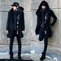 2016 Nueva llegada de los hombres de invierno de lana y blend escudo doble de Pecho medio-largo masculino engrosamiento outwear negro y azul marino ocasional más tamaño