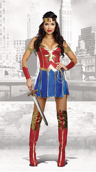 2018 Adult Women Halloween Wonder Woman Cosplay Sexy Costume Superhero  Fancy Dress Top+Skirt+Headwear+Arm ring+Cuffs,in Movie \u0026 TV costumes from  Novelty