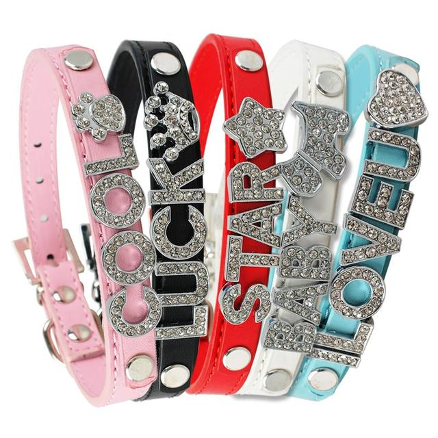 (10pcs/lot) 5colors 4 sizes  Leather Personalized Dog Cat Puppy Collars Fit 10mm Letters
