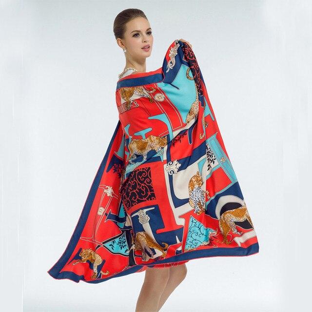Бесплатная Доставка 2017 Новых мужчин роскошный шелковый шарф модный бренд леопарда письмо цветочный принт шарф саржевого шелковая Шаль пашмины