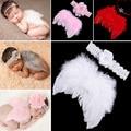 Lovely Baby Newborn Fotografía Atrezzo Infantil Niñas Ala Alas de Plumas de Ángel Blanco Conjunto Traje + Headbands Niños Outfit Apoyo de la Foto
