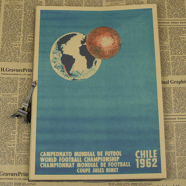 "Large Vintage""1962 World Cup in Chile""Football Poster Home Decoration Detailed Antique Poster Wall Chart Retro Matte Kraft Paper"