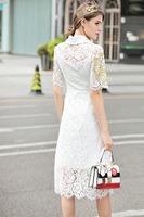 Milan New High Quality Runway Christmas 2018 Spring And Summer Fashion Women'S Party Office Vintage Girls Embroidery Lace Dress 1