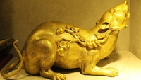 free shipping Chinese Royal 100% Pure Bronze 24K Gold Gilt feng shui Wealth Zodiac Year mouse