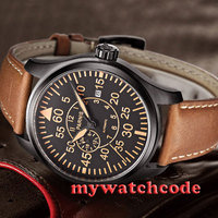 44mm parnis black dial sapphire glass 316L steel case automatic mens watch P450