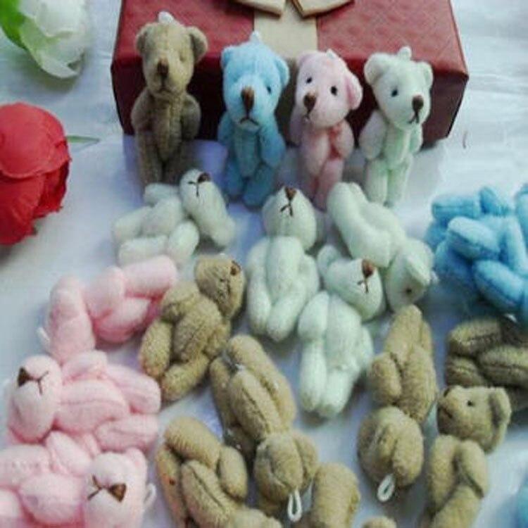 Wholesale 100pcs 3cm Mini Joint Bear Bare Teddy Bear Doll Phone Pendant Cartoon Plush Stuffed Toy