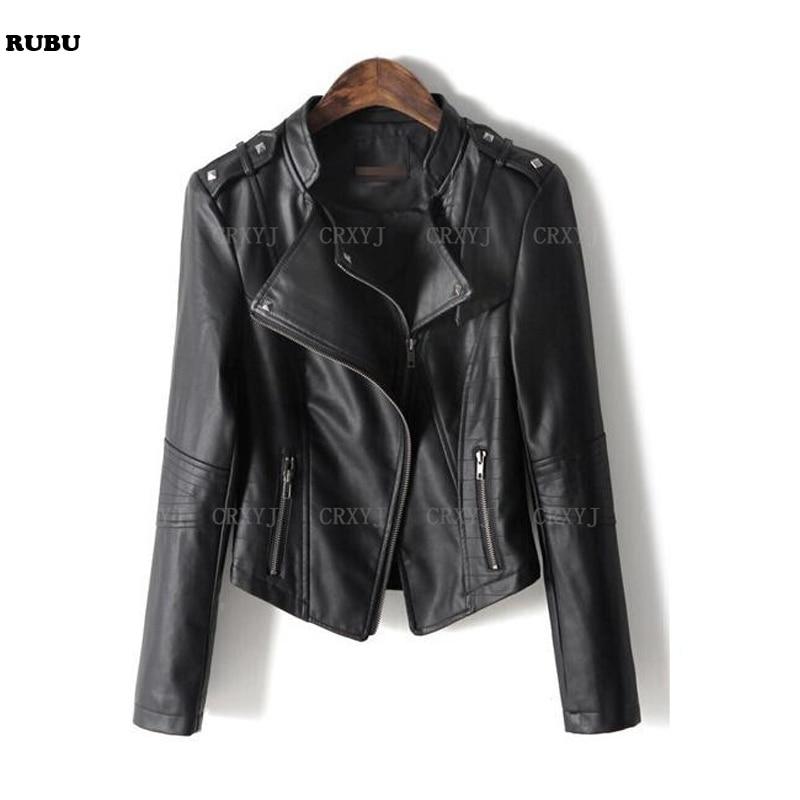 Free ship   Leather   Jacket 2017 Women's New Year Design PU   Leather   Jacket Soft   Leather   Coat Slim Lapel Motorcycle Jacket Black