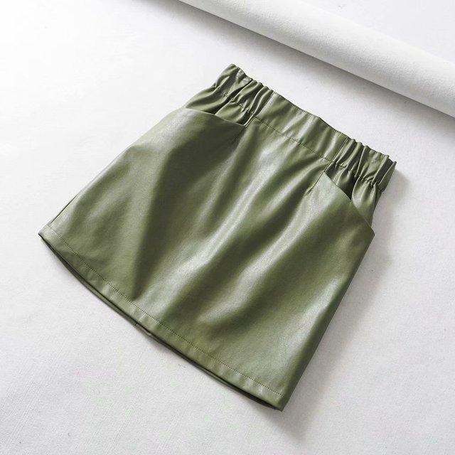 Women Skirts  Above Knee Mini Women's double pocket elastic waist PU Faux leather skirt Jupe Femme Faldas Mujer 5