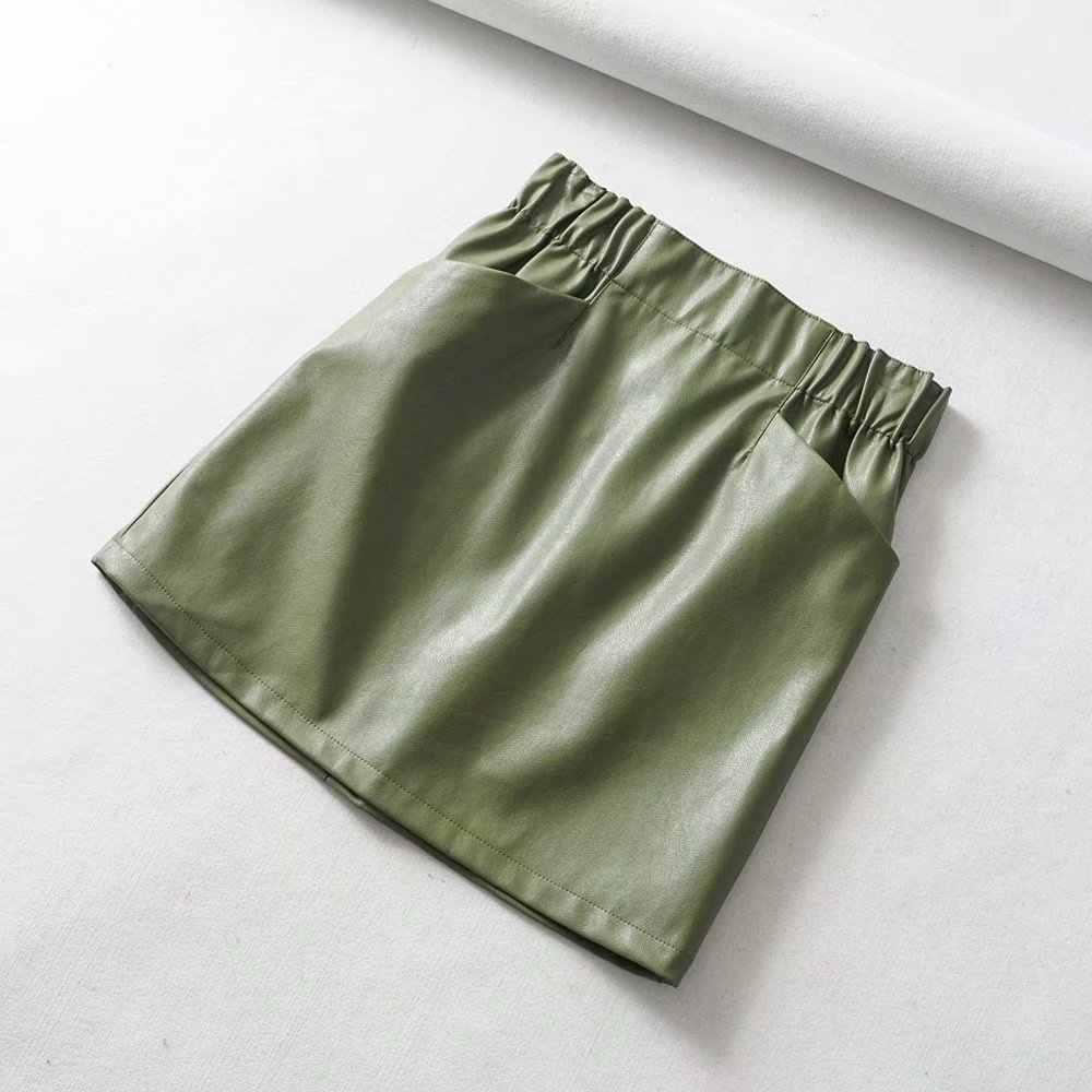 נשים חצאיות מעל הברך מיני נשים של כיס כפול המותניים אלסטית PU דמוי עור חצאית נהיגה לראשונה חצאית Femme Faldas Mujer