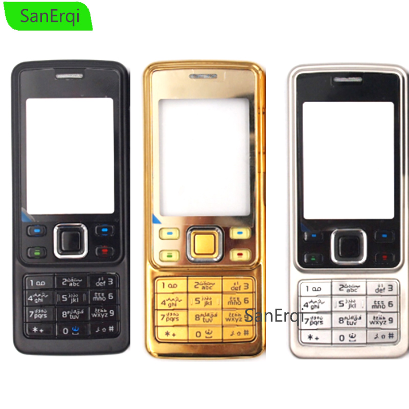 10PCS / LOT For <font><b>Nokia</b></font> <font><b>6300</b></font> Housing Metal Full Complete Mobile <font><b>Phone</b></font> Cover Case Housing English / Russian Keypad SanErqi image