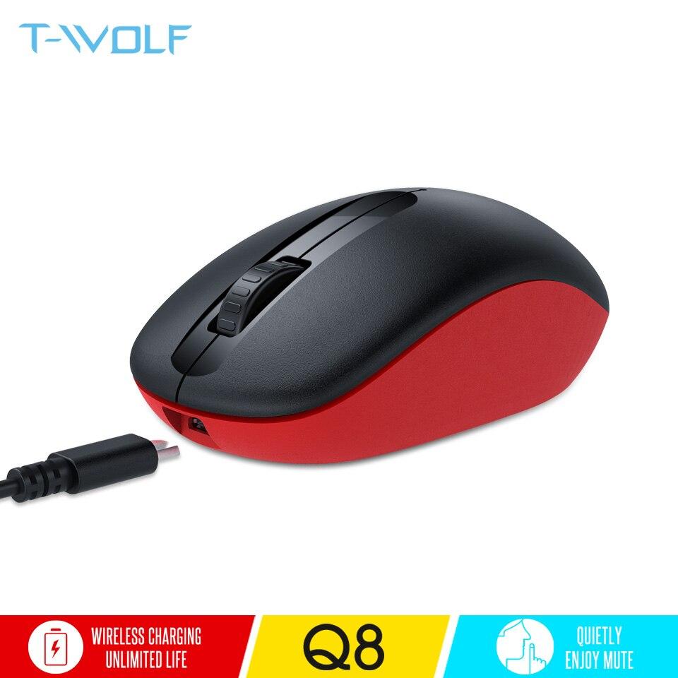 T-WOLF Q8 Mouse Ottico Senza Fili Ricaricabile 2.4 ghz Silenzioso Ergonomico Del Mouse 1600 dpi USB Mouse Senza Fili per PC Computer/ del computer portatile