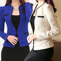2017 Slim Spring Autumn Women Round Neck Long Sleeve Blazer Work Office Lady Business Outwear Tops Casual Coat Jacket Beige/Blue