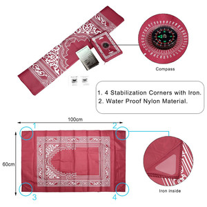 Image 4 - OurWarm Portable Muslim Prayer Mat Folding Rug Waterproof Muslim Islam Carpet With Compass Eid Mubarak Ramadan Kareem Decoration