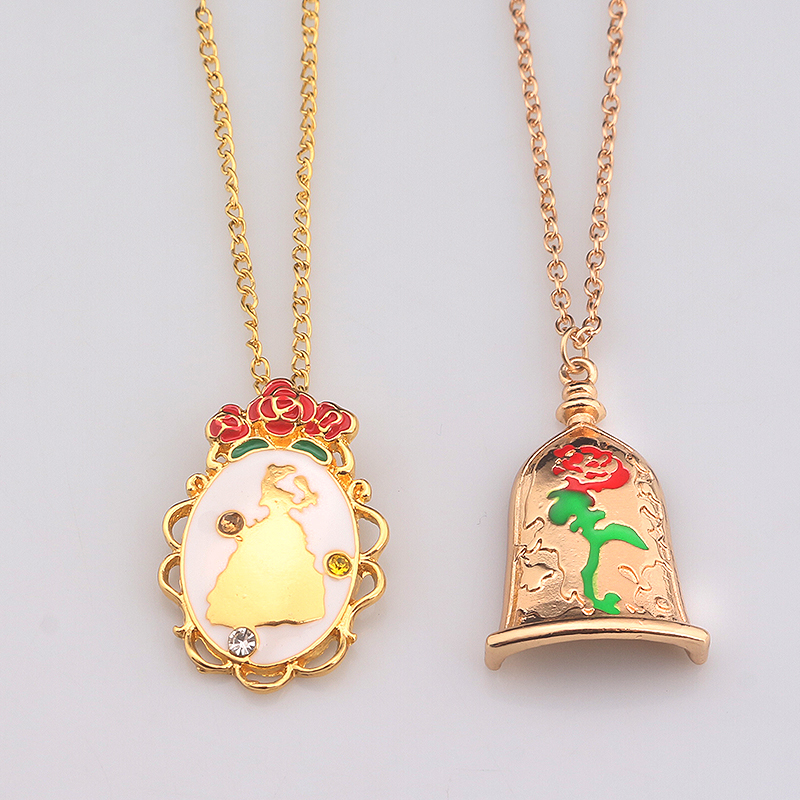 RJ Fashion Movie Beauty And The Beast Necklaces Magic Rose & Beauty Figure Pendant Necklace For Women Girl Gift Collana