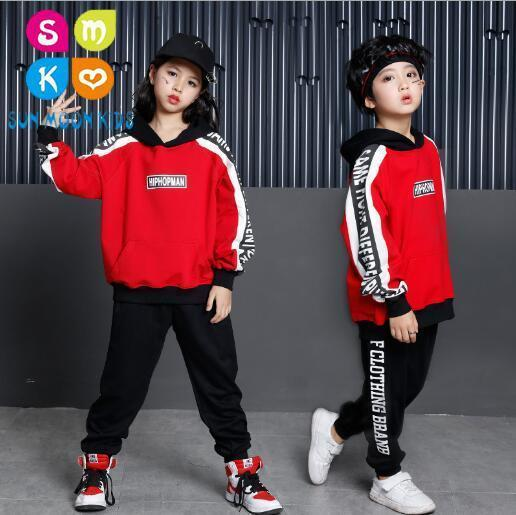 Girls Boys Jazz Dance Clothing Children Hip Hop Dance Clothes kids sport suits 2018 Autumn Child Hoodies & Pants 2 Pcs Sets hanes little boys 5 pack red label prints boxer brief