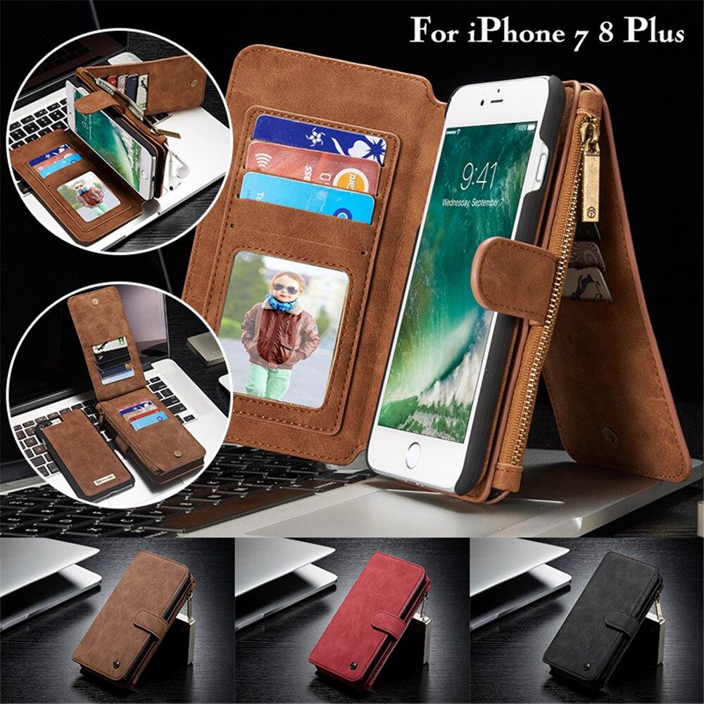 Caseme съемная 2 в 1 кожаный чехол для iPhone 7 8 плюс роскошный флип Слот для карты молния кошелек сумка Обложка для Apple iPhone 7 Plus